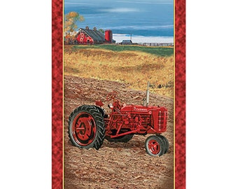 Panel-On the Farm- International Harvester Tractor Panel- from Quilting Treasures
