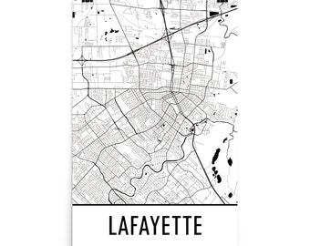 Lafayette Map, Lafayette LA Art, Lafayette Print, Lafayette Poster, Lafayette Wall Art, Map of Lafayette, Lafayette Gift, Lafayette Decor