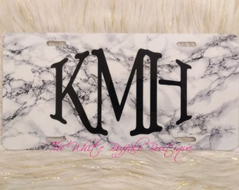 Marble Monogrammed license plate, faux marble, car accesories, truck accesories, car tag, front plate, matching key chain