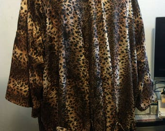 Leopard Velvet Jacket, One Size, Kimono, Plus size, Phryne Fisher, 20s, Flapper, Gatsby, Bohemian, Pockets