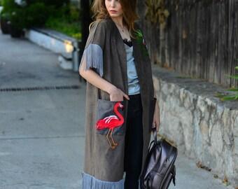 Embroidery vest, eco suede Embroidered fashion vest,ukrainian store,ukrainian gifts, vest, flamingo style
