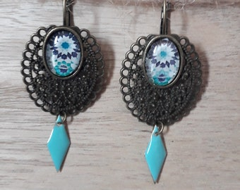 Stud Earrings turquoise and bronze