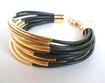 Olivgrün Lederarmband mit Gold Rohr Perlen - Multi-Strang Armreif Damen Armband... von B eine L-O-O-S