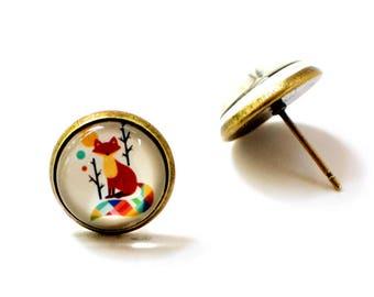 Colorful fox earrings, Fox Earrings, Fox Earrings Studs, Fox Jewelry, Glass Stud Earrings, Colorful Fox Earrings