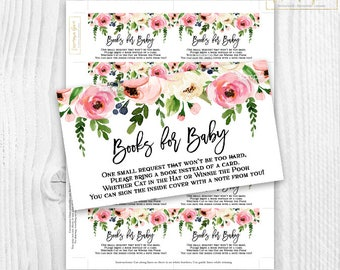 Floral baby Shower girl book cards pink watercolor floral, please bring a book floral card, rustic baby shower book cards