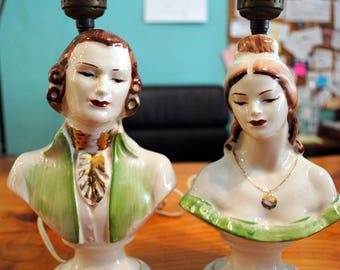 SALE  Vintage Pair Victorian Lamps, Man & Woman, Hand Painted