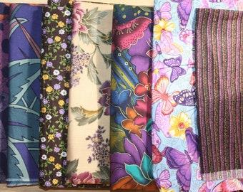 Destash Lot 9.25+ Yds Assorted 100% Cotton Fabric/Purple Hues/VIP, Springs Ind, R.E.D. International, Alexander Henry/Butterflies/Batik Look