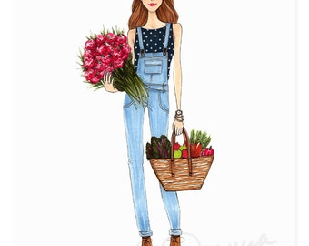 Flower Market Fashion Illustration Art Print / Fashion Illustration Sketch, Fashion Sketch Art, Fashion Art Print, Fashion Wall Art, Flowers