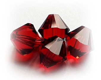 Swarovski Crystal Beads 5328 SCARLET Xilion Faceted Bicone Beads - Sizes 4mm, 6mm & 8mm available