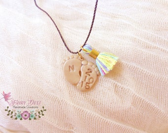 Personalised Baby Feet Necklace, New Mom Gift, Personalised Jewelry, Polymer Clay Jewelry, New Mom Necklace, Baby Foot Pendant