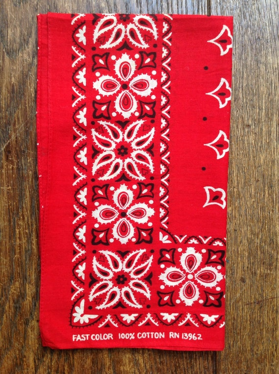 Vintage 1960s 60s cotton turkey red color fast bandana rockabilly western cowboy