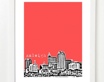Raleigh Art Print - Raleigh, NC City Skyline Poster - Raleigh North Carolina