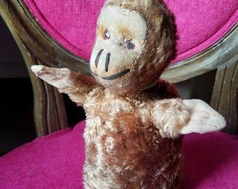 Cute 1950's Vintage Mohair Straw Stuffed Monkey Glove Animal Hand Puppet  Plastic Eyes Unmarked Steiff