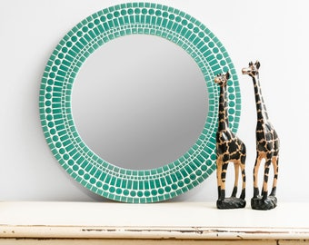"20"" Aqua Mirror – Large Wall Mirror Round in Aqua Glass Tiles - Ready to Ship"