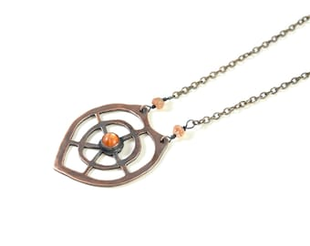 Art Nouveau Inspired Necklace in Copper and Sunstone - Artisan Jewelry- Art Nouveau Necklace - Sunstone Necklace