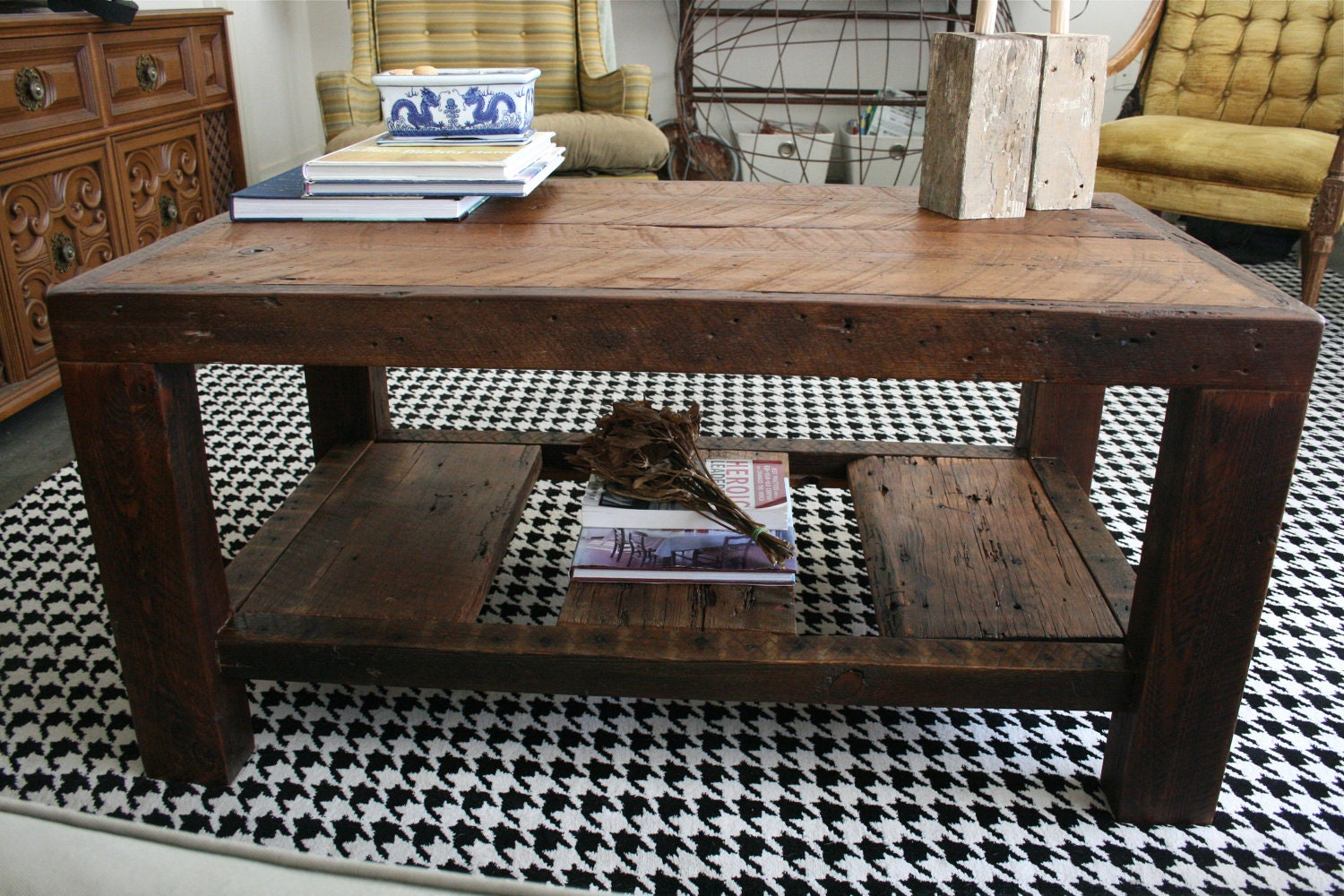 The Rustic Coffee Table Made From New Orleans Barge Board