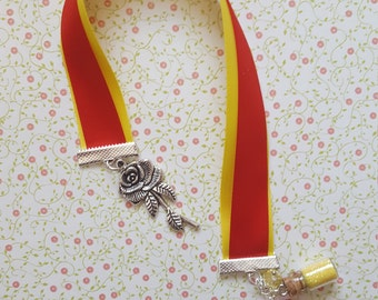 Beauty and the Beast ribbon bookmark, beauty and the beast inspired bookmark with rose charm and glitter charm.
