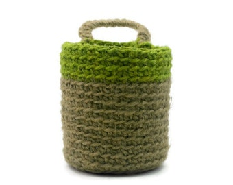 Crochet Doorknob Basket, Jute Twine Basket, Plant Pot Hanging Holder,  Hostess Gift, Desk Organizer, Crocheted Bin, Door Knob Basket