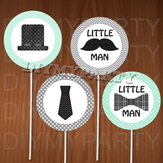 Printable Cupcake Toppers Little man Cupcake toppers Little man