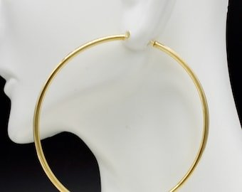 14k Solid Yellow Gold big Large Endless hoop Earrings. 60mm x 2MM 2.1gr #ga83