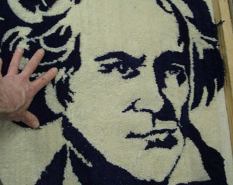 RUG- Beethoven Portrait Piano Violin Cello Classical Music Black And White Art Rug