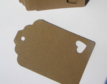 50 paper tags  - kraft brown paper tags with heart accent ,  wedding tags, favor tags , gift tags, sales tags