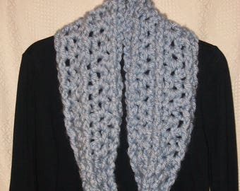 INFINITY SCARF Light Blue New Handmade Crochet Knit Winter Loop Cowl