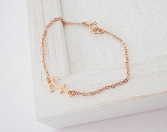 Rose Gold Anchor Bracelet, Rose Gold Bracelet, Sideways Anchor Bracelet,