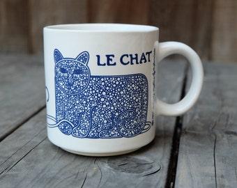 Taylor & Ng Le Chat Mug, Blue Vintage French Series 1979