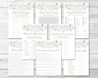 Silver & Gold Snowflake Baby Shower Games Package / 8 Printable Games / Snowflake Baby Shower / Winter Baby Shower / INSTANT DOWNLOAD A251