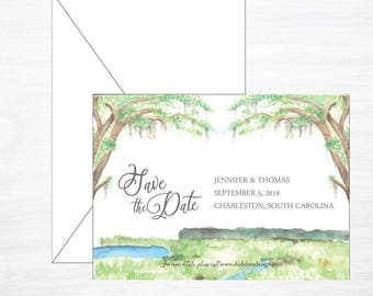 Lowcountry Wedding Save the Date, Watercolor Marsh, Scene, Charleston Save the Date, Destination Wedding Save the Date, Custom Invitations