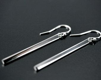 Long silver bar earrings, Bar earrings, Long earrings, Bar silver hook earrings, Bar dangle, Sterling silver modern earrings minimalist