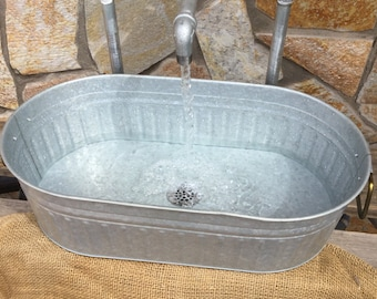 Industrial design handmade Galvanized faucet with brass valves and galvanized tub sink