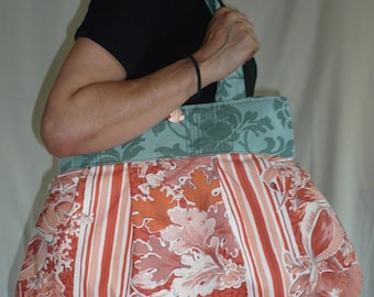 Bag reversible Justine Apricot and green
