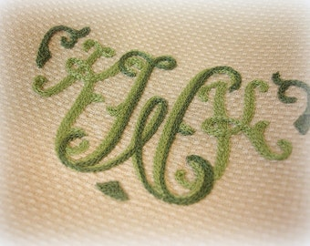 set of 4 vintage monogrammed hand towels tea towels ecru with two tone green embroidery K W K greenwald's saint louis