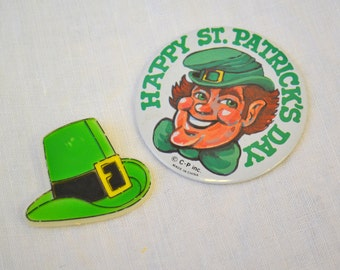 1980s St. Patrick's Day Pins, Set of 2