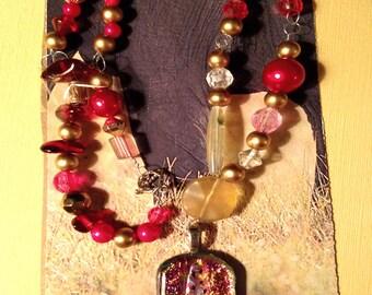 Beautiful Rose Jeweled Pendant Necklace Called Tuscan Sun