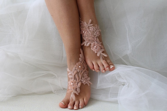 barefoot sandals bridal shoes sandals Beaded wedding sandals lace pink lace wedding sandals ICFtqqwBXx