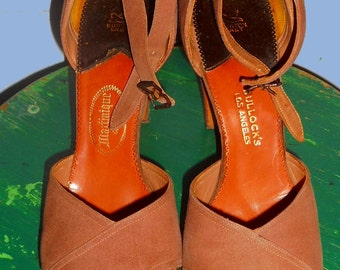 Vtg  Sling Pump Heels 1940's-50's Custom Made Taupe Suede Sz 6