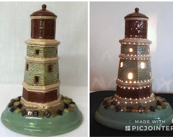 Lighthouse Light,ceramic Lighthouse,Table Top Light,Decorative  Light,nautical Decor,