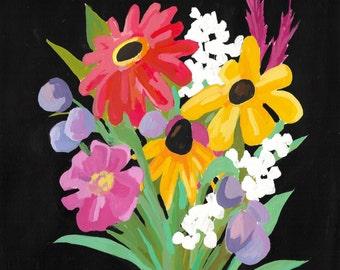 Custom Wedding Bouquet Painting, gouache on paper