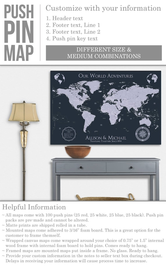 World travel map world map wall art world map push pin map art like this item gumiabroncs Images