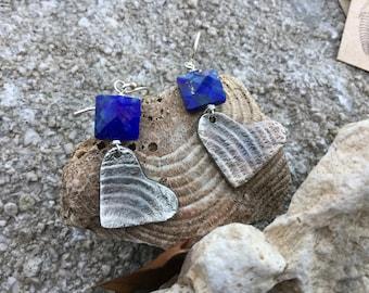 Brachiopod Fossil Heart Fine Silver Earrings with Lapis Lazuli Stones on Sterling Silver Hooks