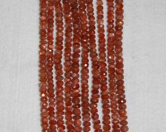 Sunstone, 5 mm, AA, Sunstone Rondelle, Faceted Rondelle, Gemstone Bead, Natural Stone, Sparkle Bead, Full Strand, AdrianasBeads