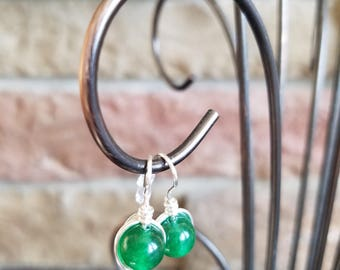 Jade Bead Drop Earrings. Silver Plate Fish Hook.