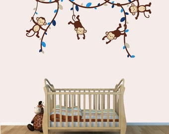 Nursery Wall Decals, Monkey Wall Decals, Decals for Kids Rooms (Blue Brown) (V62,MB81,MF74,28,63,82) MVD