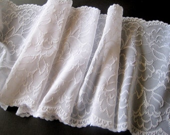 "Victorian Extra Wide Lace, White, 7"" inch wide, 1 Yard For Apparel, Home Decor, Accessories, Mixed Media, Scrapbook"