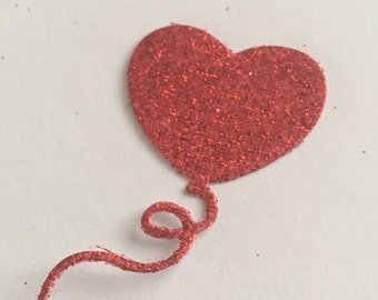 20 die cut balloons - red glitter