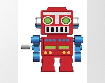 Red Robot Printable Poster, Digital Download, Boys Bedroom Wall Art, Toy Robot Print, Free Custom sizing available, Nursery Decor, Kids Art