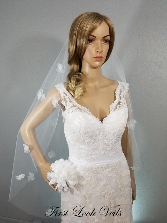 White Wedding Veil, Bridal Fingertip Veil, First Look Veils, Floral Organza Veil, Flower Veil, Pearl Accents, Wedding Vail, Bridal Accessory